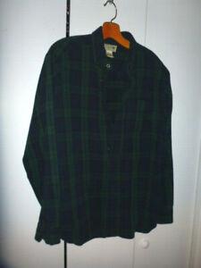 Gent Worn L.L. Bean Blue Green Flannel Shirt Mens Medium Reg