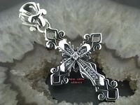 Gothic Silber Kettenanhänger KREUZ TRIBAL 925 Silber celtic Kristall