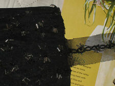 """10 yards 1 1/2"""" width black color tulle trim with beads and sequined front side"""