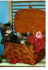 Cute Fuzzy Kitty Cat-Kittens in Wicker Basket-Roses Flowers-Vintage Postcard