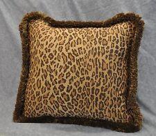 Pillow made w Ralph Lauren Venetian Court Bohemian Leopard Fabric w Fringe 20x20