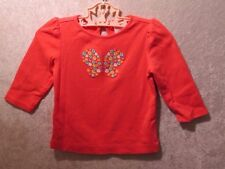 "Gymboree ""Spring Rainbow"" Floral Butterfly Melon Pink Top, 6-12 mos."