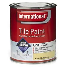 International Waterproof Bathroom Tile Paint - Faded Buttercup - 2 x 750ml Tins