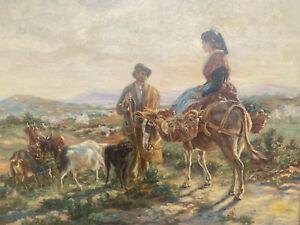 tableau Ecole Provençale ou Corse XIX ème siècle la rencontre à dos d'Ane