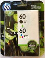 NEW HP 60 BLACK & TRI COLOR COMBO PACK 2 ORIGINAL INK CARTRIDGES RETAIL BOX