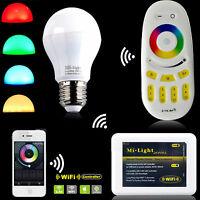 E27 Led Bulb Mi Light 2.4G Wireless RGBW 9W Dimmable Light+ Wifi Remote 85V-265V