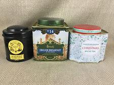3 Tea Caddy Tin Storage Jars Harrods Mariage Freres Fortnum & Mason Empty