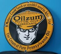 VINTAGE OILZUM GASOLINE PORCELAIN GAS SERVICE STATION PUMP PLATE MOTOR OIL SIGN