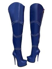 CQ COUTURE SAMPLE ZIP STUDS PLATFORM BOOTS STIEFEL STIVALI LEATHER BLUE BLU 37