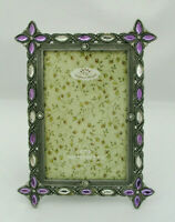 "SUNFLOWER DESIGNS 4"" X 6"" PHOTO FRAME - BRONZE TONE EDGE w PURPLE CLEAR CRYSTALS"