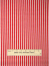 "Red White Stripe Fabric Springs Festival Stripe CP36297 Cotton 25"" Length"