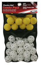36 Practice Golf Ball Combo Set w/ 24 White Wiffle and 12 Yellow Foam Balls