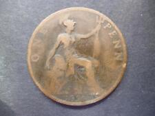1896 un Penny Pièce de Monnaie Reine Victoria (Ancien Tête) Bronze,Bon Used État