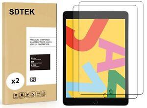 2x SDTEK Vetro Temperato per Apple iPad 10.2 (2019/2020) Pellicola Protettiva