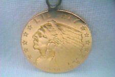 Estremamente RARA 22 kt Gold $2 1/2 DOLLARO Indian Head Ciondolo MONETA Americana 1909