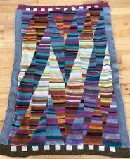 "Vintage Hand Knitted Afghan Throw Blanket Multicolor 43""x64""  Geometric Pattern"
