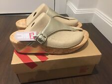 BNIB Fitflop sandals cork sole / platform and adjustable leather upper UK 6.5
