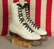 "Vintage Ccm Eagle Skating Shoes White Leather Ice Figure Skates Pathfinder 10.5"""