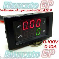 2in1 ISOLATO VOLTMETRO 0-100V AMPEROMETRO 0-10A da pannello isolated ammeter DC