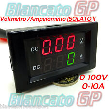 2in1 ISOLATO VOLTMETRO 0-100V AMPEROMETRO 0-10A da pannello isolated ammeter DC