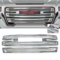 For 2019 2020 2021 GMC Sierra 1500 SLT AT4 Grille Overlay Grill Covers Chrome