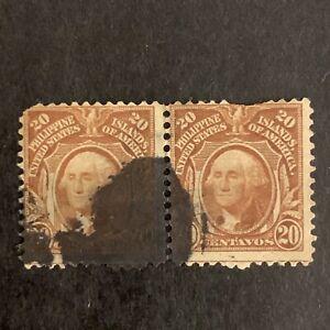 U2/92 US Philippines Stamp Scott 248 20c UNH Beautiful Unusual Fancy Cancel Pair