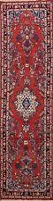 Vintage Floral Hamedan Hand-knotted Narrow Runner Rug Hallway Wool Carpet 2x9 ft