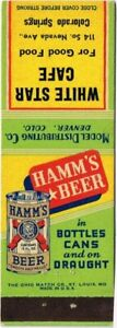 Scarce 1930s Colorado Springs White Star Cafe HAMM'S BEER Matchcover TavernTrove