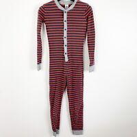 Mini Boden Kids Boy Girl One Piece Union Suit Blue Red Striped Pajama Sz 11
