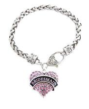 Bridesmaid Pink Crystal Heart Silver Bracelet Jewelry Wedding Maid Honor Gift