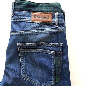 Desigual Mens Daniel Jeans 34 36 Blue Green Tartan
