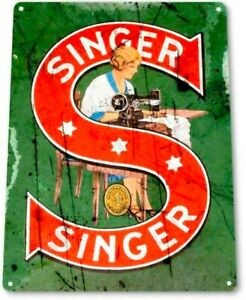 Singer sewing tin metal sign MAN CAVE brand new