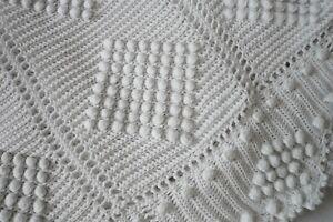 ♥ Linge Ancien Superbe Dessus de Lit Fait Main au Crochet Coton Blanc Relief