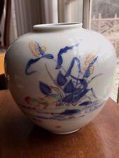 Japanese hand painted  Fukagawa Signed Koransha Vase Duck Decoration