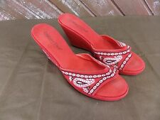 Coldwater Creek Sandal Paisley Print Red Slip-on Wedge Size 8.5 M Spring Summer