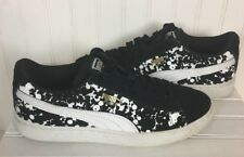 Girls Puma Suede Sneakers/Shoes/Black/White/Size 4