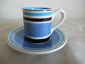 WHITTARD ~ ESPRESSO COFFEE  CUP & SAUCER ~ BLUE / BLACK/ WHITE STRIPES