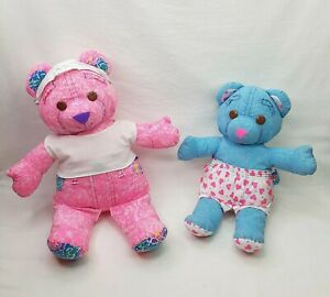 """2 Vintage Doodle Bears 90s Tyco Plush Toys Pink 17"""" and Blue 13"""""""