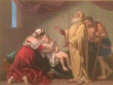 ANTICA SCENA BIBLICA_INTERNO CON FIGURE E UN BAMBINO_LITOGRAFIA A COLORI_'800