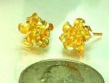 22K THAI BAHT DP YELLOW GOLD ~ FILIGREED ORCHID FLOWER POST STUD EARRINGS