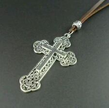 Mens leather stainless steel cross Necklace fathers day dad son boy male