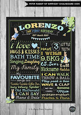 BOY 1ST FIRST BIRTHDAY CHALKBOARD SIGN PETER RABBIT BIRTHDAY PARTY PERSONALISED