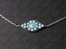 925 Sterling Silver / 18K Gold Vermeil Evil Eye Mati Nazar Bracelet Turquoise