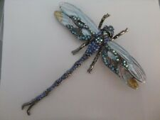 (Beautiful) Vintage Antique Silver Rhinestone Crystal Dragonfly Pendant Brooch