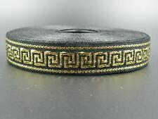 25 meters Jacquard Ribbon Trim *16mm width Greek Key*Black/Gold*