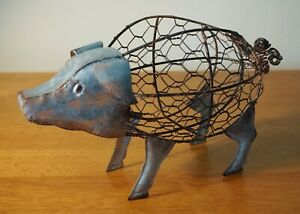 PIG BASKET Rustic Chicken Wire Sculpture Country Primitive Kitchen Home Decor
