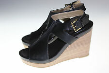 Me Too Leather Ankle Strap Wedges - Atlantic 7 MEDIUM BLACK PO