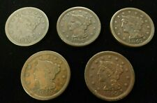 Set of (5) Braided Hair Us Large Cents 1845-1849