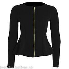 Ladies Women's Smart Casual Peplum Frill Zip Blazer Flared Jacket Top Size 8-14 Black 10