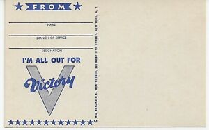 """""""I'm All Out For VICTORY"""" - 1942 Dark Blue on Manila, WWII Era PC - Unused"""